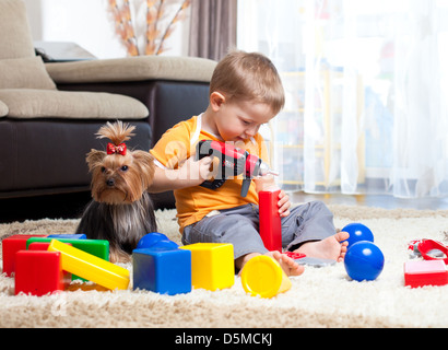 Child playing with building blocks at home. York dog sitting near boy. - Stock Photo
