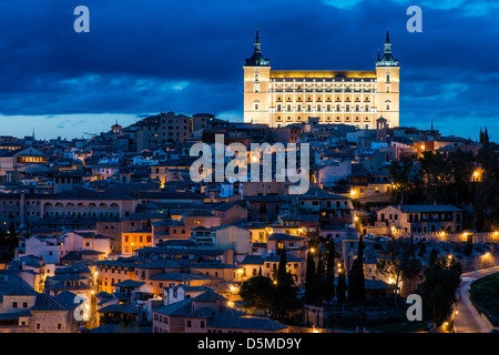 Night view of the Alcazar,  Toledo, Castile La Mancha, Spain - Stock Photo
