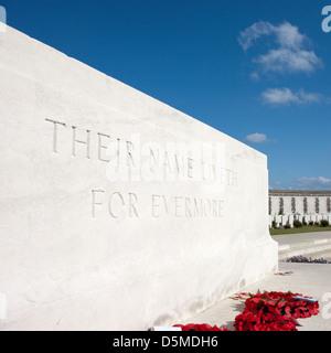 Stone of Remembrance, Tyne Cot British Cemetery, Passchendaele, Zonnebeke, West-Vlaanderen, Belgium - Stock Photo