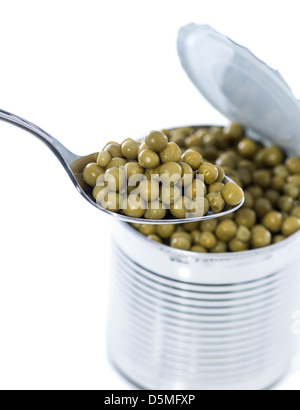 Peas in a Can isolated on white background - Stock Photo