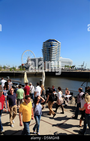Hafencity, Grasbrookhafen with Marco-Polo-Tower and Unilever-Haus, Hamburg, Germany - Stock Photo