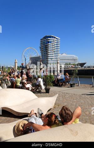 Hafencity, view from Kaiserkai to Marco Polo Tower, Hamburg, Germany - Stock Photo