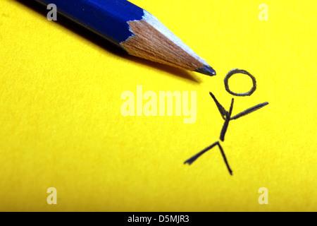 stickman pencil drawing - Stock Photo