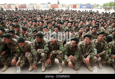Afghan Nation Army soldiers during graduation from basic warrior course March 28, 2013 at Camp Shorabak, Helmand - Stock Photo