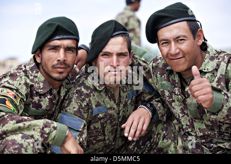 Afghan National Army soldiers during graduation from basic warrior course March 28, 2013 at Camp Shorabak, Helmand - Stock Photo