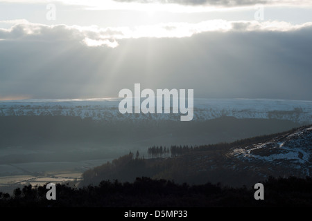 Magnificent and mysterious sun rays view from Cleveland Way near Clay Bank UK - Stock Photo