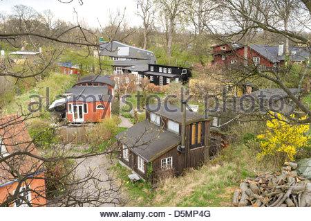 Buildings in Freetown Christiania, Copenhagen, Region Hovedstaden, Denmark - Stock Photo