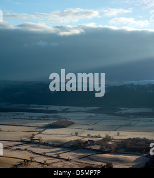 Sunrise over the clay bank in North Yorkshire Moors UK - Stock Photo