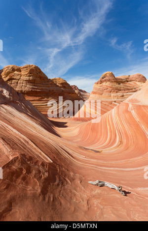 The Wave - colorful sandstone rock formation located in the United States of America near the Arizona and Utah border - Stock Photo
