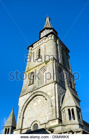 11th Century church tower of Église Notre-Dame, La Souterraine, La Creuse, Limousin, France - Stock Photo