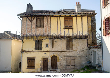 Old half-timbered houses on Place de l'Église in Bellac, Haut-Vienne, Limousin, France - Stock Photo