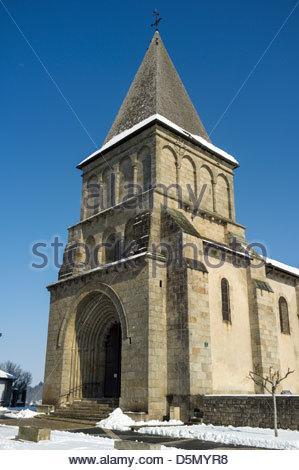 Church of Église Saint-Barthélémy at Bénévent l'Abbaye, La Creuse, Limousin, France - Stock Photo
