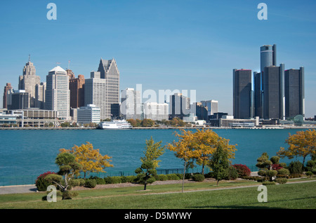 Panoramic shot of Detroit's skyline taken from Ontario,Canada and across the Detroit River in Fall of 2012. - Stock Photo