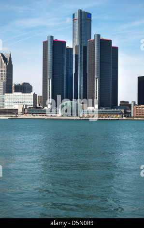 Detroit, Michigan, USA, The Motor City, featuring the Renaissance Center, home of General Motors headquarters shot - Stock Photo