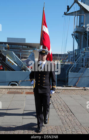 Copenhagen, Denmark. April 4th 2013. Cadets from the Royal Danish Naval Academy during their 'Flag on Board' parade - Stock Photo
