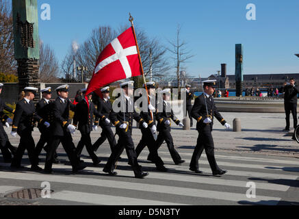 """Copenhagen, Denmark. April 4th 2013. Cadets from the Royal Danish Naval Academy during their """"Flag on Board"""" parade - Stock Photo"""