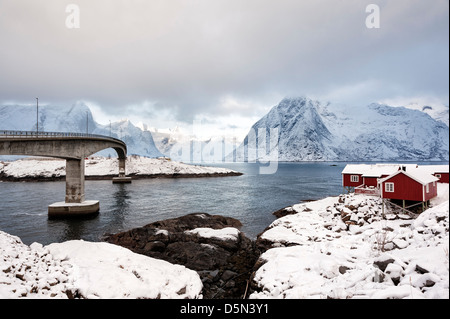 A view of mount Olstind from Hamnoy village on as stormy morning - Stock Photo