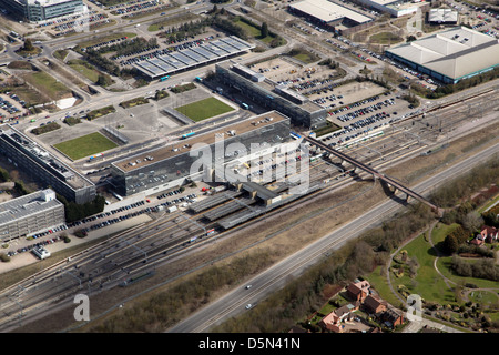 aerial view of Milton Keynes Railway Station in Buckinghamshire - Stock Photo