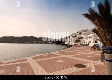 Las Playitas promenade Fuerteventura Canary Islands - Stock Photo