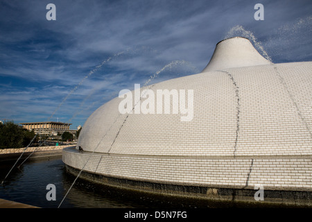 Israel museum shrine of the book roof and the Knesset parliament building  behind - Stock Photo
