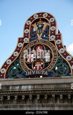 London Chatham and Dover Railway Sign at Blackfriars on South Bank - London UK - Stock Photo