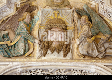 TOLEDO - MARCH 8: Detail from portal of Gothic atrium of Monasterio San Juan de los Reyes or Monastery of Saint - Stock Photo