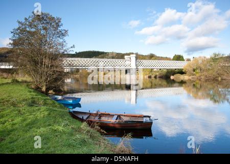 Logierait Bridge crossing the River Tay - Stock Photo