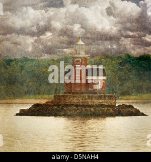 Digitally enhanced image of Stepping Stones lighthouse in Long Island Sound - Stock Photo