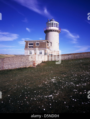 Belle Tout disused lighthouse (now a Bed & Breakfast) on the Seven Sisters Cliffs, East Sussex, UK - Stock Photo