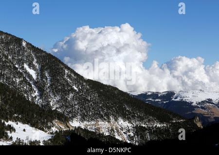 Mountain scenery near the Ski resort of Vallter 2000 in the Spanish Pyrenees, - Stock Photo