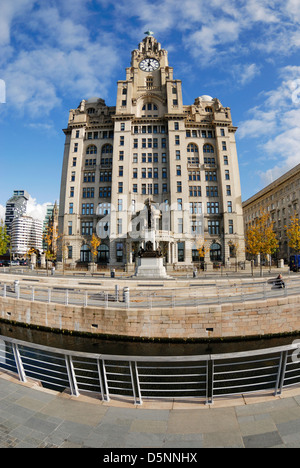 Royal Liver Building at Pier Head, Liverpool, an iconic grade 2 listed building on a UNESCO World Heritage site. - Stock Photo