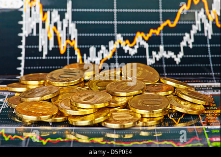 Golden coins and financial chart as background - Stock Photo
