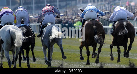 Aintree, UK. 6th April 2013.   The Grand National Festival. Action from the John Smith's Liverpool Hurdle. Credit: - Stock Photo