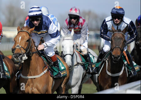 Aintree, UK. 6th April 2013.   The Grand National Festival. John Smith's Liverpool Hurdle. American Spin ridden - Stock Photo