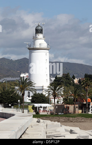 Lighthouse in Malaga, Andalusia Spain - Stock Photo