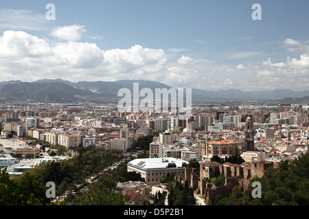 View over the city of Malaga, Andalusia Spain - Stock Photo