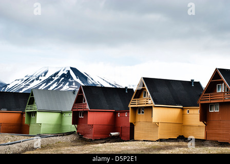 Colorful houses in the town of Longyearbyen on Spitsbergen, Svalbard Archipelago, Norway - Stock Photo
