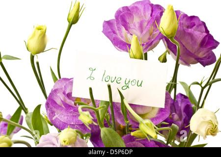 beautiful bouquet of purple flowers on white Lisianthus - Stock Photo