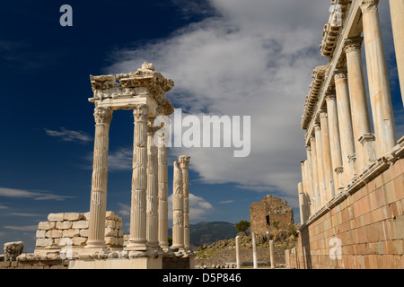 Restored Corinthian columns at ancient Pergamon archaeological site at Bergama Turkey - Stock Photo