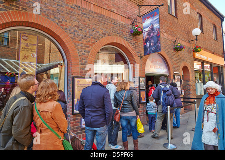 Queue outside the Jorvik Viking Centre, Coppergate  York Yorkshire UK - Stock Photo