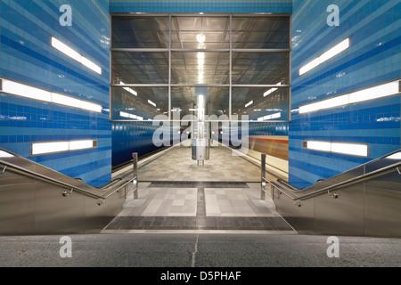 Überseequartier U-Bahn Station in Hamburg - Stock Photo