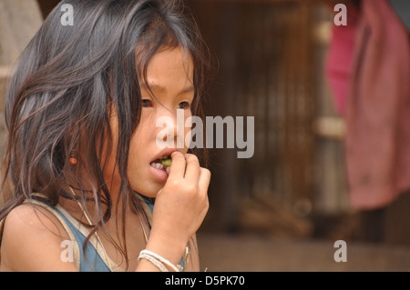 Portrait of a young girl in Laos - Stock Photo