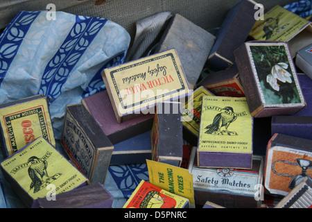 Vintage matchboxes - Stock Photo