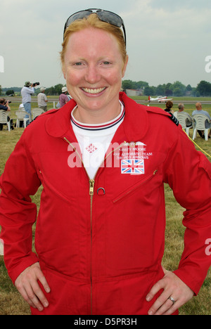 Kirsty Moore joined the RAF's Red Arrows aerobatic team in 2010 as the first female member of the team but left - Stock Photo