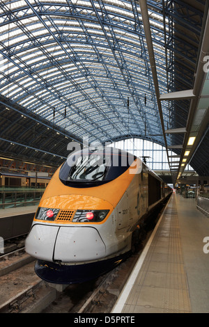 Eurostar Train on the platform at St Pancras International Station in London - Stock Photo