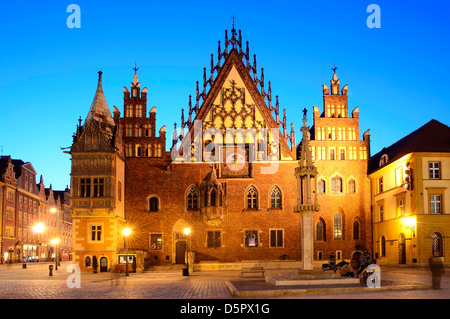 old city hall in wroclaw, poland, at night - Stock Photo