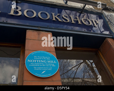 Sign outside the Notting Hill travel bookshop,London,made famous in film 'Notting Hill' starring Julia Roberts and - Stock Photo