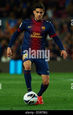 Barcelona, Spain. 6th April 2013. Marc Bartra (FC Barcelona), during La Liga soccer match between FC Barcelona and - Stock Photo