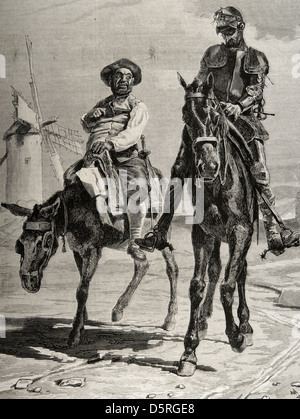 The Ingenious Hidalgo Don Quixote of La Mancha by Cervantes. Don Quixote and Sancho Panza after the adventure of - Stock Photo