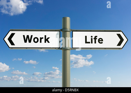 Concept sign, Work Life Balance, choice direction, directions future concept sign - Stock Photo